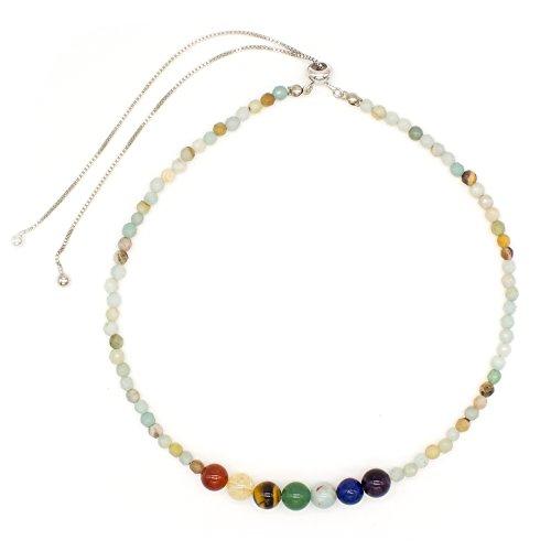 Bivei Adjustable Faceted Onyx/Turquoise 7 Chakra Healing Energy Semi Precious Gemstone Beaded Choker Necklace (Amazonite)