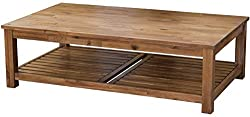New Pacific Direct Tiburon Coffee Table,Solid Acacia Wood,Amber Brown
