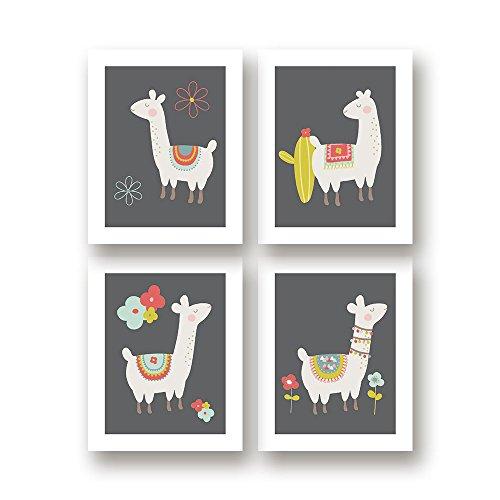 Llama Art Nursery Decor - Set of Four 11x14