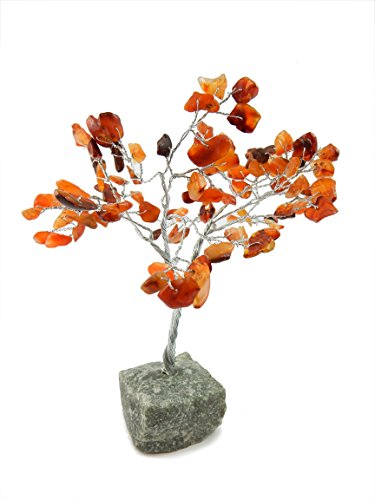 Beverly Oaks Healing Crystals Bonsai Tree ~All Natural Gemstone Tree ~ Money Tree Featuring Healing Stones (Carnelian)