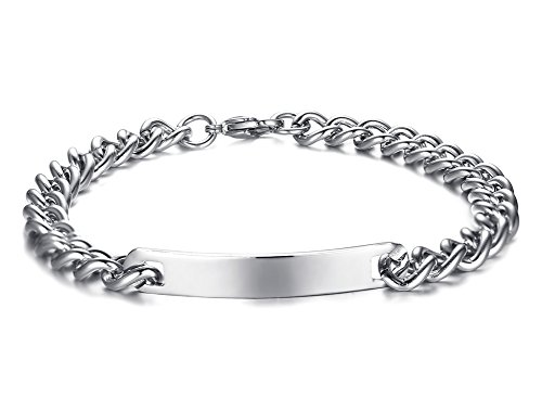 XUANPAI Stainless Steel Cuban Chain Link Bracelet Matching Couples ID Bracelets for Him ()