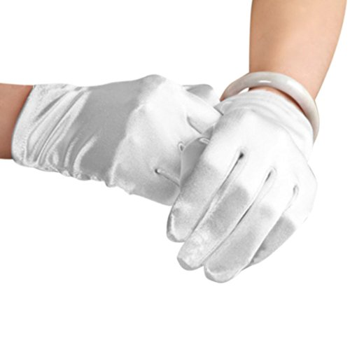 (Women Ladies Elegant Fashion Classical Full-fingered Short Satin Gloves Evening Prom Wedding Outdoor Cycling Gloves White)