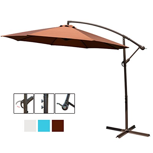 HollyHOME 10 Ft Patio Umbrella Offset Hanging Umbrella Outdoor Market Garden Umbrella with Cross Base, Chocolate - Market Table Set