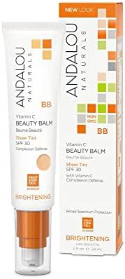 Andalou Naturals Vitamin C BB Beauty Balm Sheer Tint SPF 30, 2 Ounce
