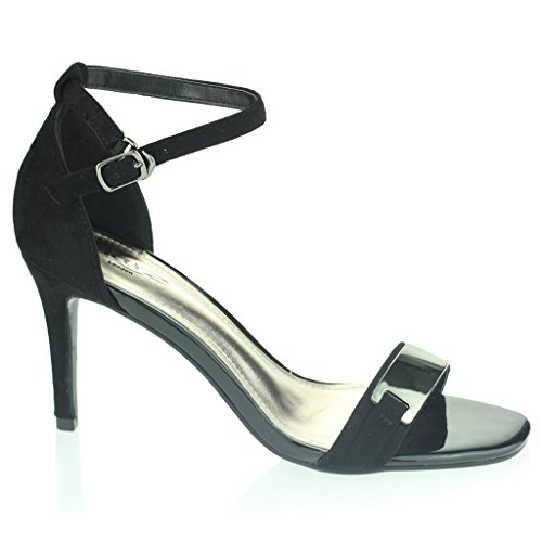 Frau Damen Abend Hochzeit Party Abschlussball Platz Offener Zeh Mitten High Heel Sandalen Schuhe Größe Schwarz