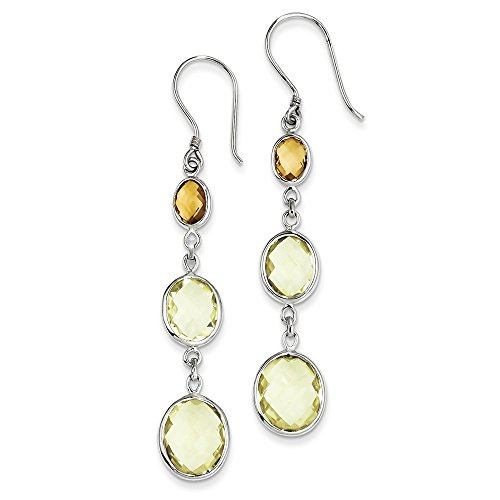 Sterling Silver Citrine/Lemon Quartz Shepherd Hook Earrings by CoutureJewelers