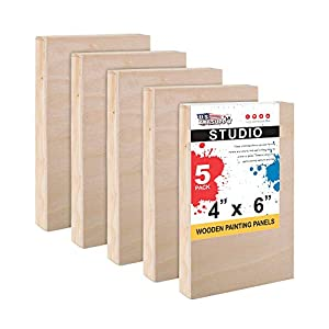 U.S. Art Supply 4″ x 6″ Birch Wood Paint Pouring Panel Boards, Studio 3/4″ Deep Cradle (Pack of 5) – Artist Wooden Wall Canvases – Painting Mixed-Media Craft, Acrylic, Oil, Watercolor, Encaustic