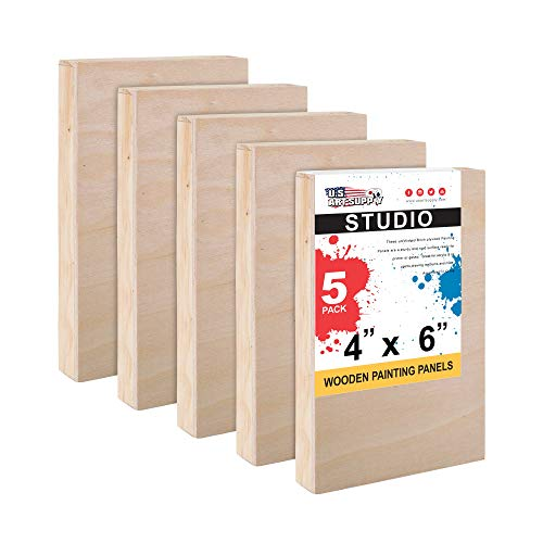 U.S. Art Supply 4 x 6 Birch Wood Paint Pouring Panel Boards, Studio 3/4 Deep Cradle (Pack of 5) - Artist Wooden Wall Canvases - Painting Mixed-Media Craft, Acrylic, Oil, Watercolor, Encaustic