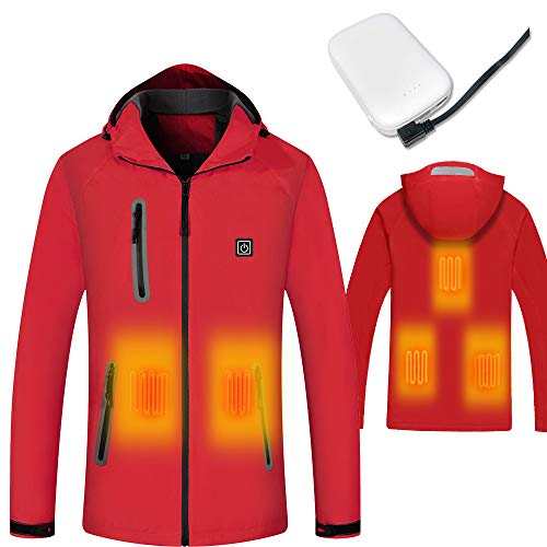 (J-Jinpei Heated Jacket Washable Electric Winter Coat USB Rechargeable Jacket with 8000mAh Battery Waterproof Jacket Windproof Insulate Jacket for Hiking,Camping,Fishing Unisex Red)