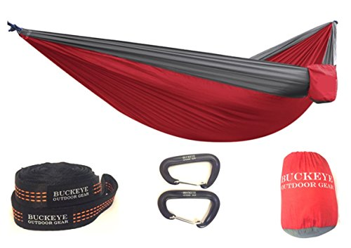 Buckeye Outdoor Gear - PREMIUM Camping Hammock COMPLETE KIT with FREE Straps and Carabiners, High Strength Nylon 106 x 55 and a 550 pound capacity!