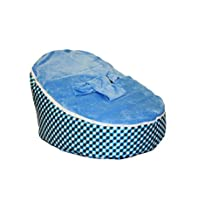 BayB Brand Baby Bean Bag - Blue Plaid Checker - Filled