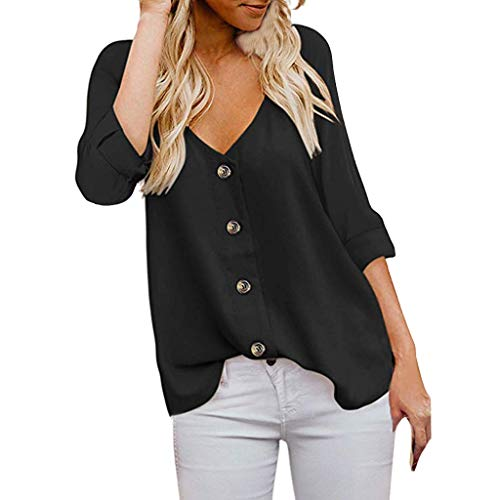 Lafayette Suit Skirt - TUSANG Women Tees Fashion 3/4 Sleeve V Neck T Shirts Button Down Shirts Casual Tops Shirts Blouses Slim Tunic(Black,US-10/CN-XL)