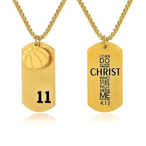 VI.SPORT Basketball Player 11 Dog Tag Pendant,Religious Philippians 4:13 I Can Do All Things Necklace (Gold) ()