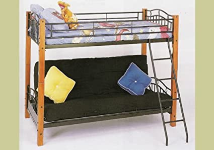 Amazon Com Metal And Wood Twin Futon Bunk Bed Kitchen Dining