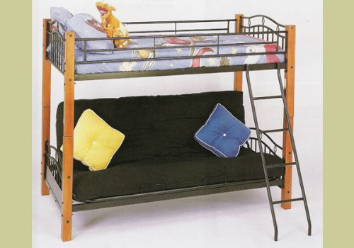 wood bunk bed with futon - 8
