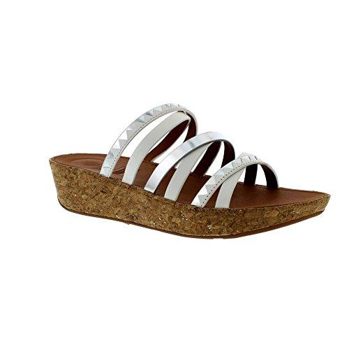 Silver Urban White Slide Sandals Linny Zigzag Mirror FitFlop 0PBwqO4