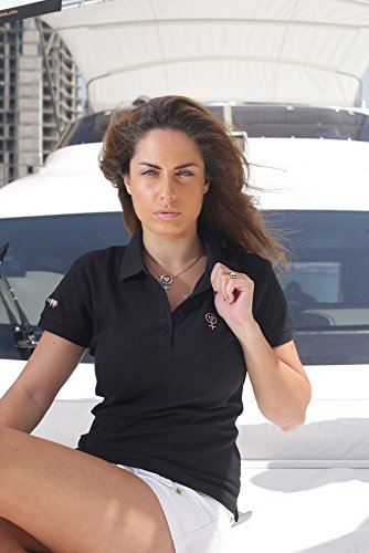 Coeur De Femme Women's Cotton Polo Shirt Schwarz Medium