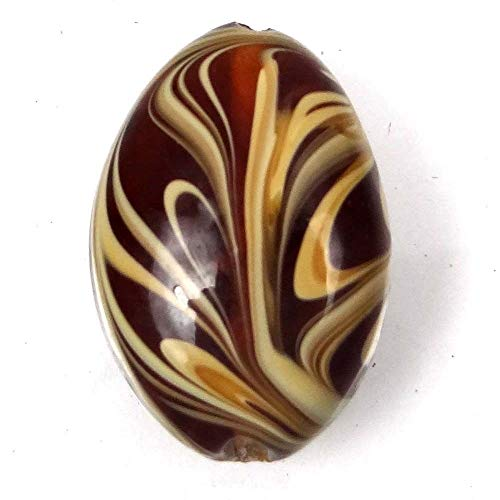 """Peppermint Store Lampwork Handmade Glass Amber Taffy Swirl Oval Pendant Focal Bead 30mm #ESAD"""