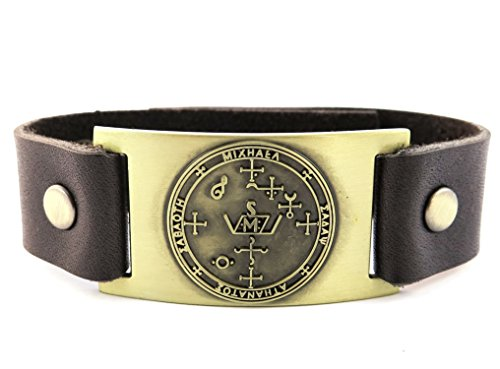 Archangel Michael Sigil Bracelet, Leather, Adjustable by 1000K' ways Designs