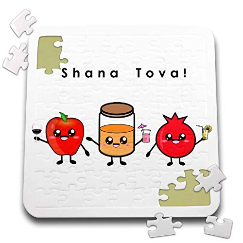 3dRose InspirationzStore - Judaica - Shana Tova - Cute Cartoon Rosh HaShanah Greeting Happy Jewish New Year - 10x10 Inch Puzzle (pzl_318149_2)