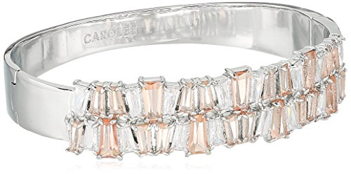 Carolee Blushing Bride Collection Women's Tapered Baguette Hinged Cuff Bracelet, Silver/Lt Pink Carolee Jewelry