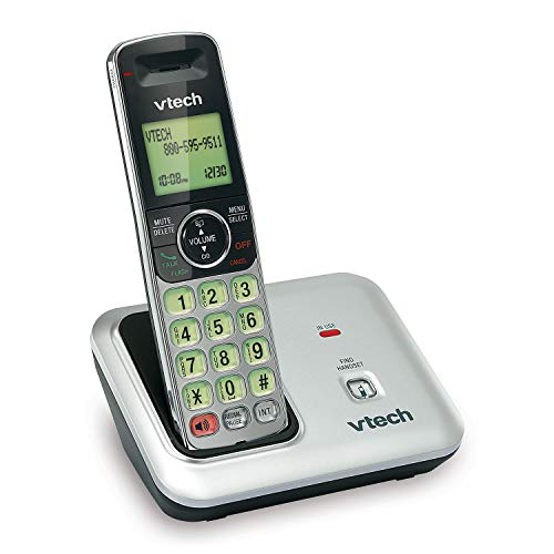 VTech CS6419 DECT 6.0 Cordless Phone with Caller ID, Expandable up to 5 Handsets, Wall-Mountable, Silver/Black (Skype Phone Cordless)