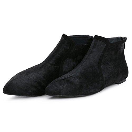 appuntito Stivali Stivaletti 32 caviglia donna Da black signore 35 piattaforme alla con Stivali Cachemire Appartamento Le piatto BLACK femminili vAwPqapAz