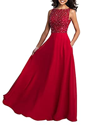 Beauty Bridal Women's Scoop Prom Dress Beaded Formal Evening Party Gowns Long J17