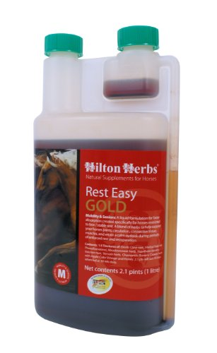 Hilton Herbs Rest Easy Gold Concentrated Herbal Rest & Recover Supplement for Horses, 2.1pt Bottle by Hilton Herbs