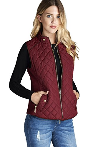 Women's Basic Solid Quilted Padding Jacket Vest Suede Piping Details with Pockets (Large, (Suede Piping)