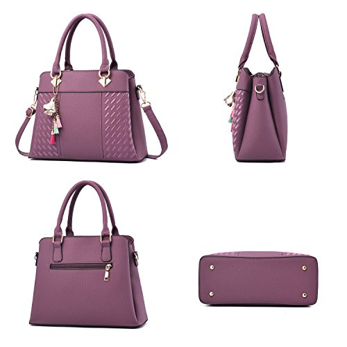 Leather Handbags Bags Barwell PU Shoulder Top Handle Women's Purple Tote qg5qwPxt8