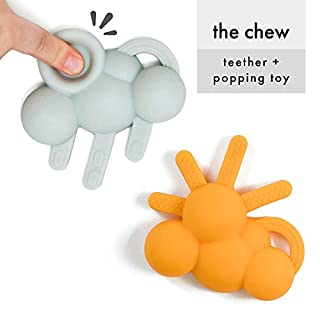 DODDLE & CO. The Chew Teether (2-Pack Sun/Rain) Poppable Bubbles | Like Bubble Wrap But Better | Toddler Teething Fidget Toy | 100% Silicone | BPA Free | 2-in-1 Teethers & Toy for Baby Infant