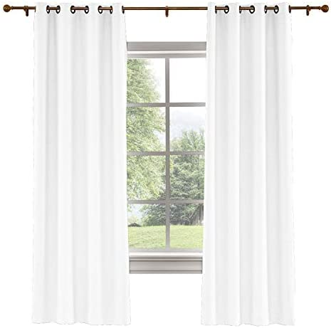 ChadMade 120W x 102L Inch Snow White Linen Polyester Curtain Drapes