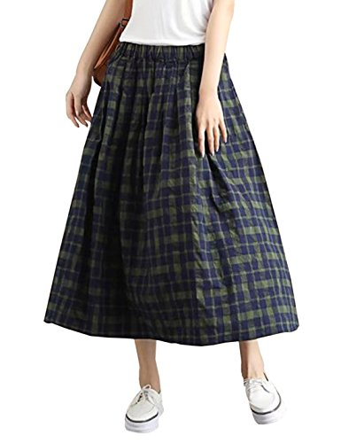 Yimoon Women's Retro Floral Print Loose Pockets Cotton Skirt Elastic Waist Pleated Midi Swing Skirt (Navy Plaid, One Size)
