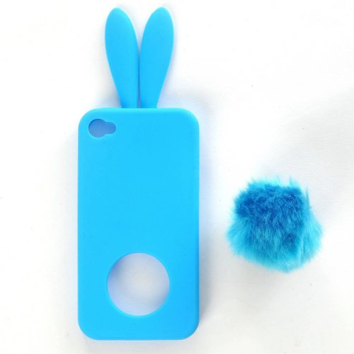 FJX New Cute Bunny Rabit Silicone Case Skin With Stand Tail Holder for Apple iPhone 4/4G/4S (Sky Blue)