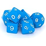 Poly Dice Set, Blue, 7 Polyhedron Dice Set D4 D6 D8 D10 D12 D20 D00