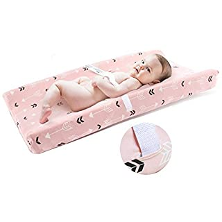 BROLEX Stretchy Changing Pad Covers 2 Pack Jersey Knit Change Pad Covers for Girls Boys,Pink & White Arrow