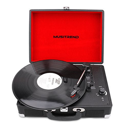 Price comparison product image Musitrend Vinyl Record Player Classic Portable Suitcase 3 Speed Stereo Turntable with Built-in Speakers,  PC Recorder,  Headphone Jack,  RCA line out,  Black