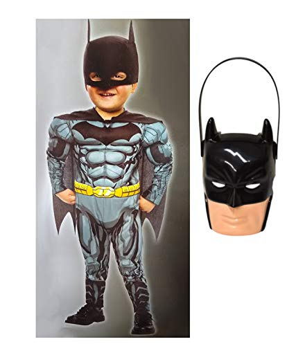Halloween Batman Costume for Kids/Toddler Boys Size 3T-4T and Figural Plastic Trick Treat -