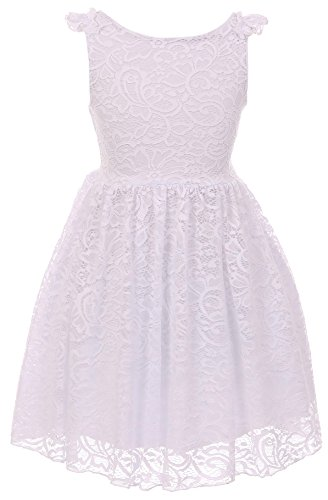 Little Girls Dress Sleeveless Lace Wedding Evening Party Birthday Flower Girl Dress White 4 (K20K88) by Dreamer P