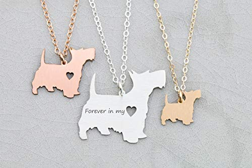 - Scottie Dog Necklace - Scottish Terrier - IBD - Personalize with Name or Date - Choose Chain Length - Pendant Size Options - 935 Sterling Silver 14K Rose Gold Filled Charm - Ships in 1 Business Day