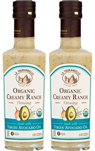 La Tourangelle Organic Creamy Ranch Dressing, 8.45 fl. oz, 2-Bottle Pack, Plant-Based Salad Dressing, Made with Organic Virgin Avocado Oil, Vegan, Gluten-Free, Low Sodium, 2Count
