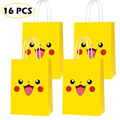16 PCS Video Game Theme Birthday Party Paper Gift Bags for Pokemon Party Supplies Birthday Party Decorations - Party Favor Goody Treat Candy Bags for Game Kids Adults Birthday Party Decor- YELLOW