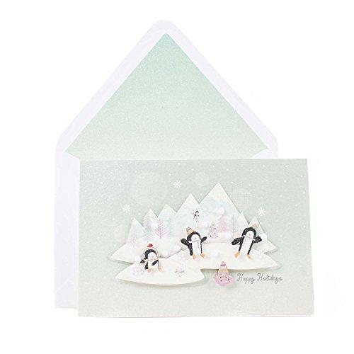 Hallmark Signature Happy Holidays Greeting Card (Snowballs and Penguins)