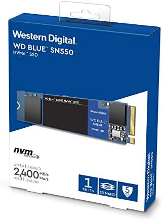 Western Digital 1TB WD Blue SN550 NVMe Internal SSD - Gen3 x4 PCIe 8Gb/s, M.2 2280, three-D NAND, Up to two,400 MB/s - WDS100T2B0C