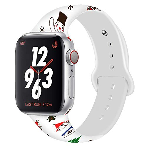 (Chumei Sporty Band Compatible with Apple Watch, Soft Silicone Replacement Santa Snowman Xmas Wristband Strap Band for iWatch Series 4 3 2 1 (38MM/40MM S/M Christmas R))