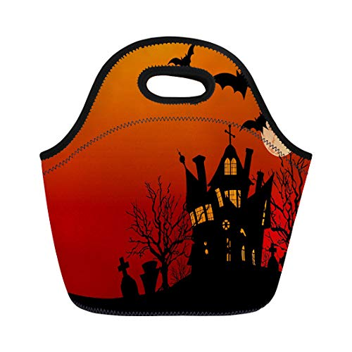 (Semtomn Lunch Tote Bag Spooky of Halloween Haunted House Surrounded By Bats Party Reusable Neoprene Insulated Thermal Outdoor Picnic Lunchbox for Men)