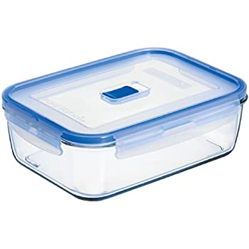 Arc International Luminarc 8.3 Cup Rectangle Pure Box Container With Lid,  9.2 By 6.7 By 2.8 Inch