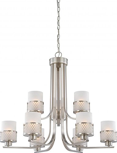 Nuvo 60/4689 Fusion Two Teir Brushed Nickel Nine Light (Fusion Transitional Chandelier)