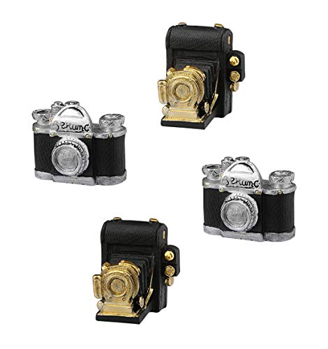 Mini Resin Ornament - Dedoot Retro Camera Decor, Set of 4 Creative Resin Vintage Decoration Video Recorder Model Mini Ornament for Photo Props Home Decor Tabletop Decoration